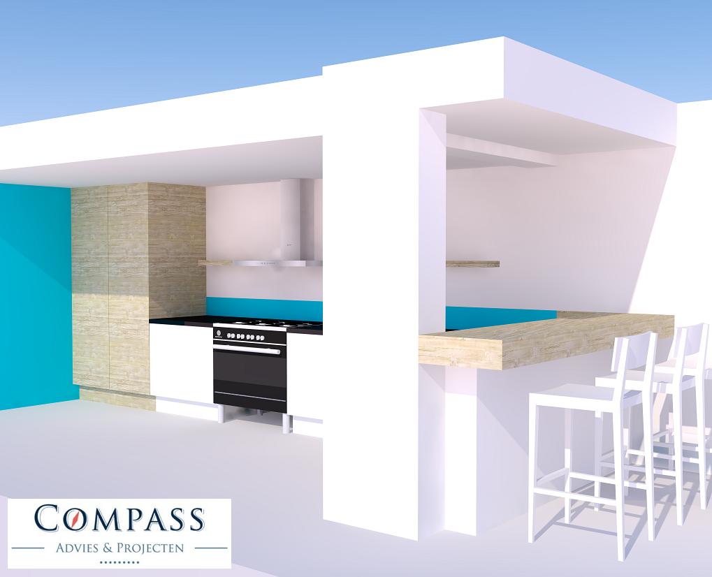 Ontwerp keuken en uitbouw te wilnis compass advies projecten - Keukenontwerp ...